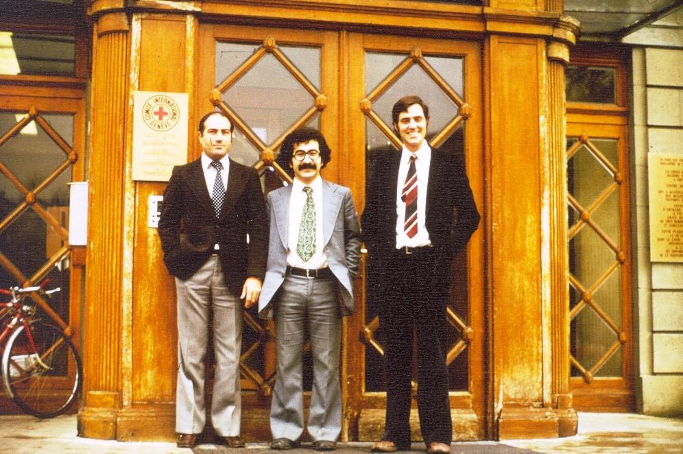 s prof. Rolandem Mensch, v centrále Červeného kříže, Ženeva, 1979