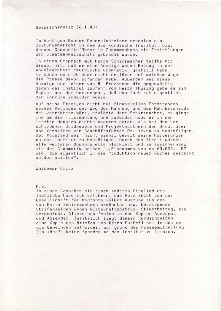 06-01-1988 - Waldemar Grytz über die Lage des Kurdischen Institutes