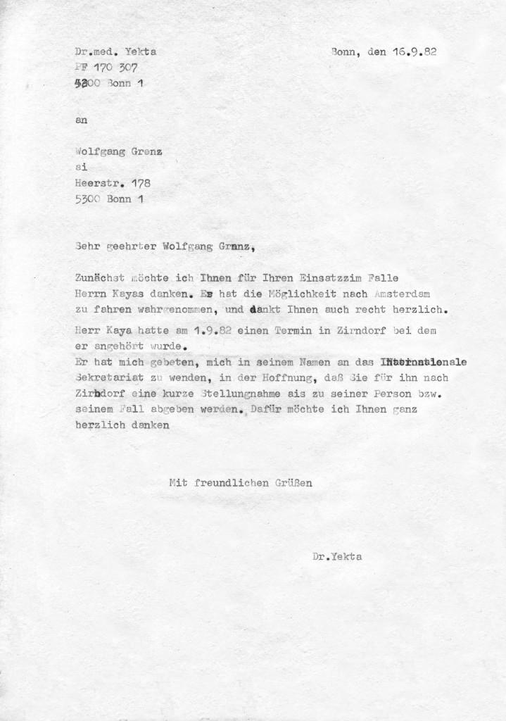 16-09-1982 - Zusammenarbeit zwischen Amnesty International und Dr