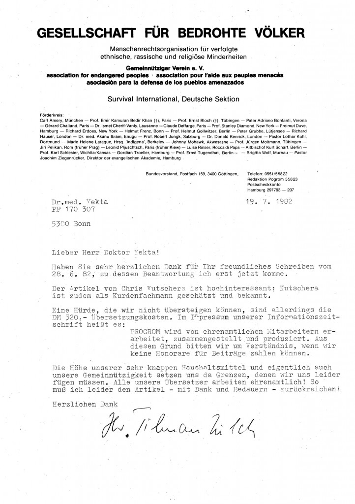 19-07-1982 - Korespondence Dr.Yekta Uzunoglu mit GfbV