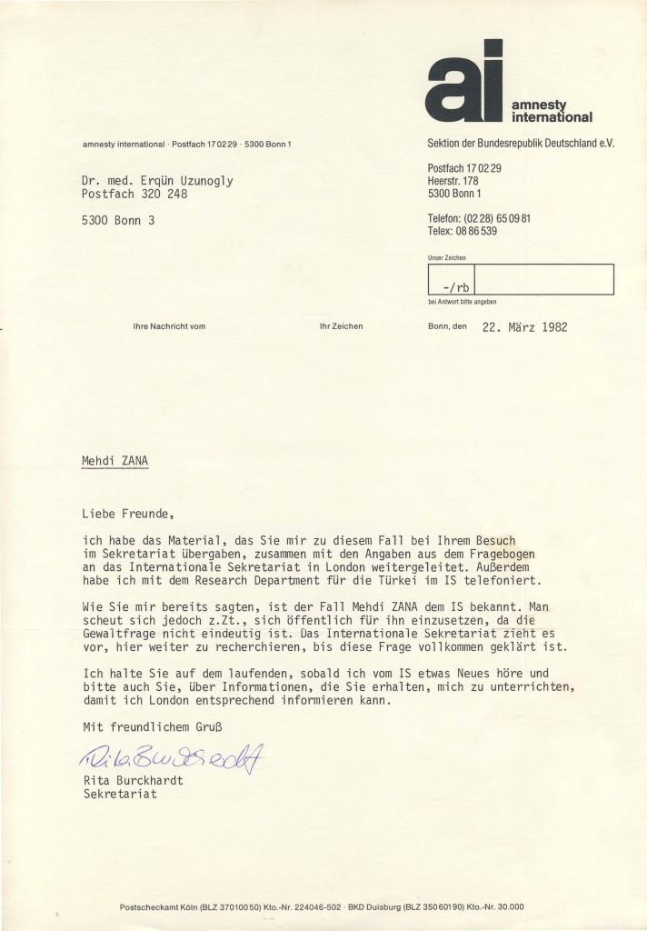 22-03-1982 - Amnesty International über Mehdi Zana mit Dr Yekta