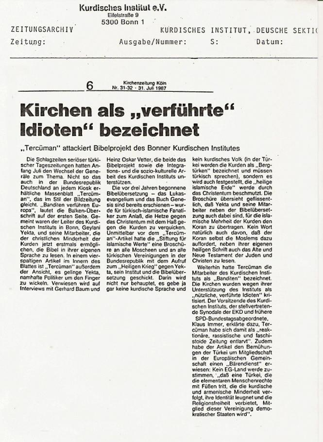 Katolischer Zeitung - Kirche 1987