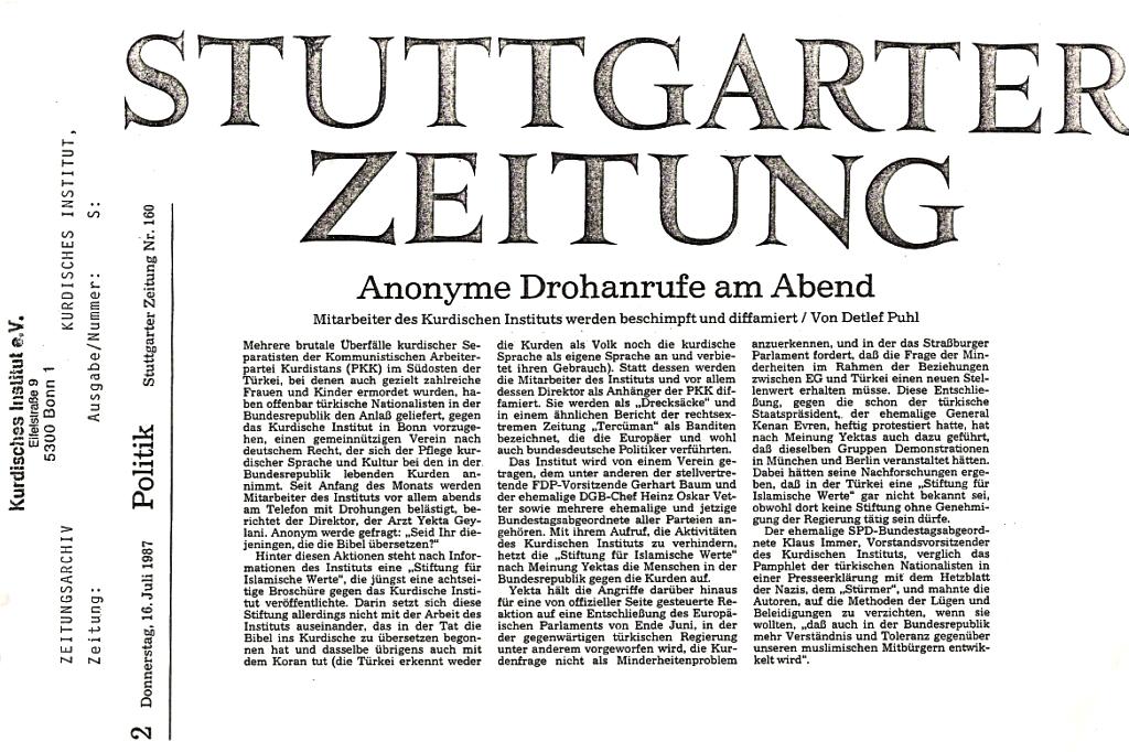 Stuttgarter Zeitung 1987