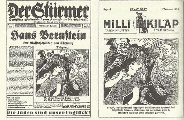 Turecký časopis Milli İnklap a německý časopis Der Stürmer