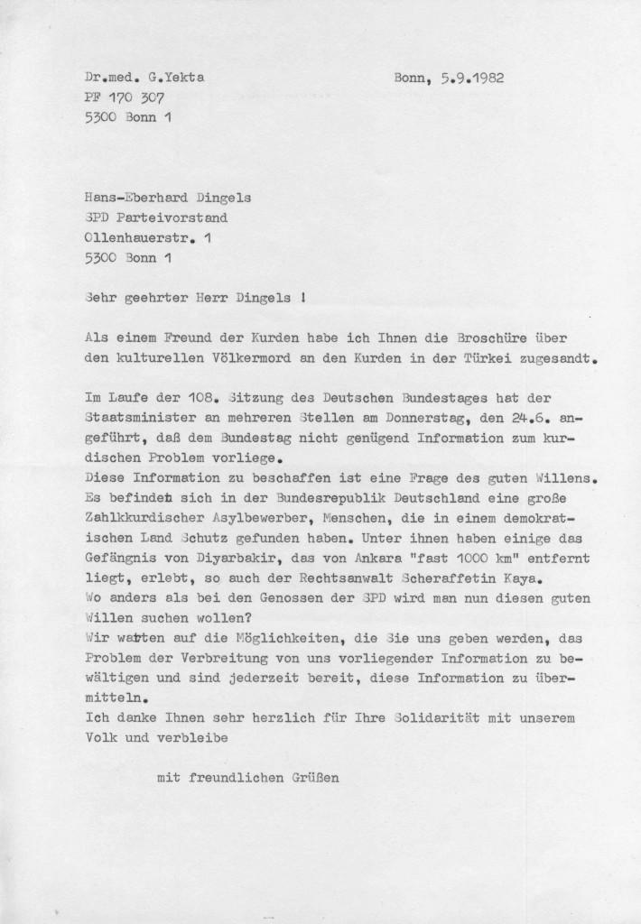 05-09-1982 - Zusammenarbeit zwischen SPD-Vorstand und Dr Yekta