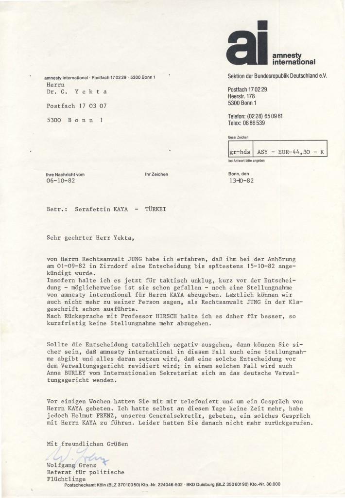 13-10-1982 - Zusammenarbeit zwischen amnesty international und Dr Yekta