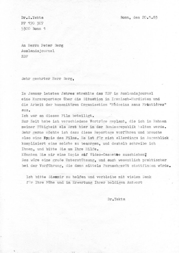 20-01-1983 - Zusammenarbeit zwischen ZDF und Dr Yekta