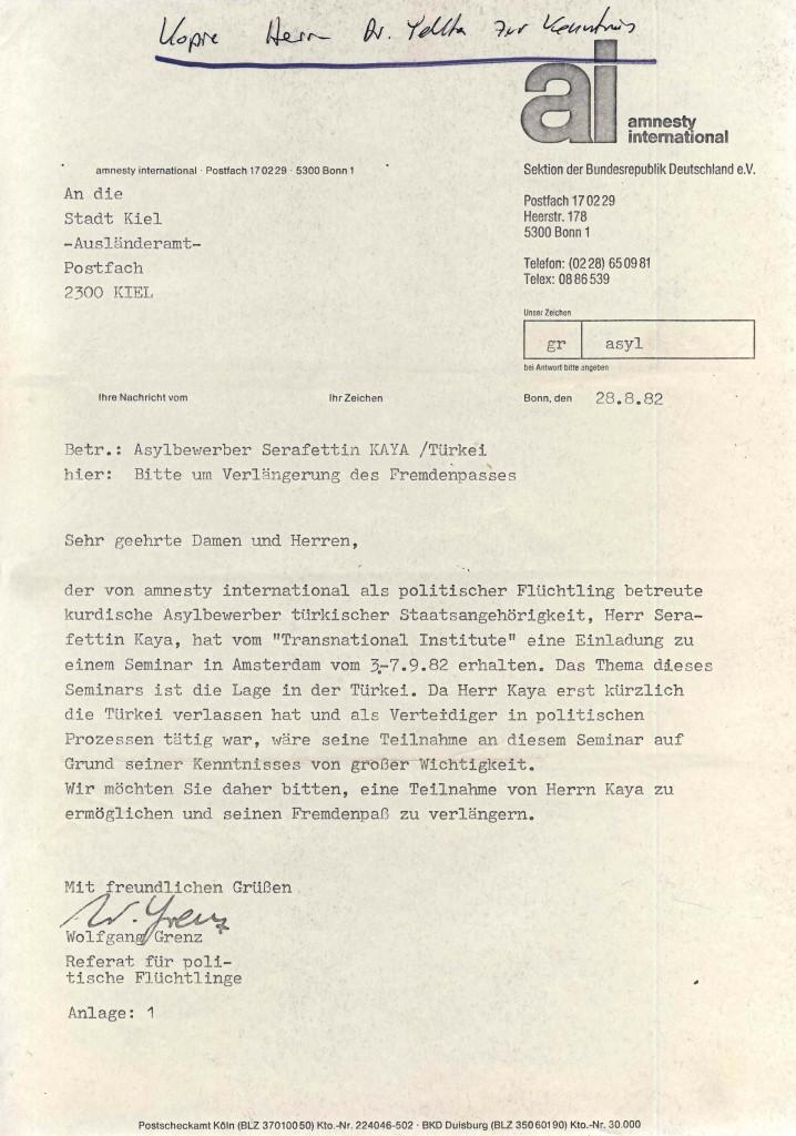 28-08-1982 - Zusammenarbeit zwischen Amnesty International und dr Yekta wegen Serafettin Kaya