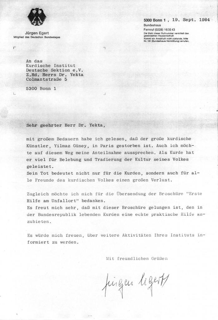 Jürgen Egert (MdB) an Dr
