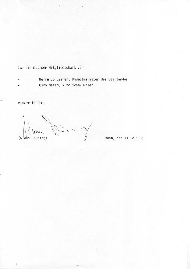 Klaus Thüsing zur Mitgliedschat von Jo Leinen